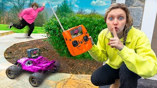 SPOTTED MYSTERY NEIGHBOR using MiNi RC CAR GADGET leads to TOP SECRET ESCAPE ROOM CHALLENGE