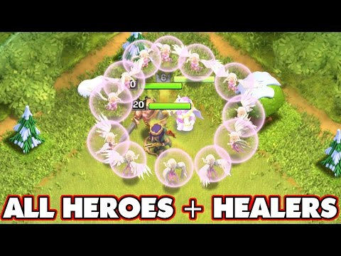 Clash Of Clans   IMMORTAL HEROES + ALL HEALERS!! (EPIC GAMEPLAY) All Hero Free For All