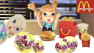 FROZEN Elsa McDonald's & LOL Surprise Toy Hunt!  Come Play FROZEN Toddlers Dolls -Kids Pretend Play