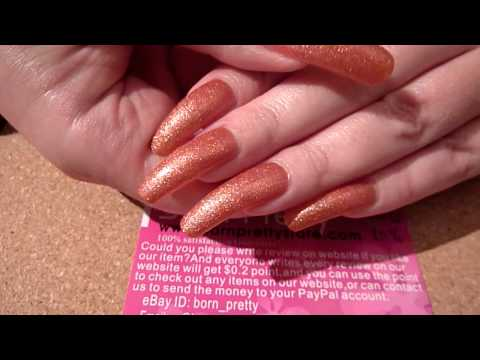 Review Of Born Pretty Store Red Shimmer Crystal Sand Foil Nail Polish #20 HD Video