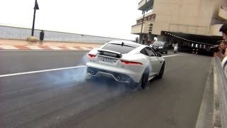 Jaguar F-Type R CRAZY BURNOUTS and insane popping sound!