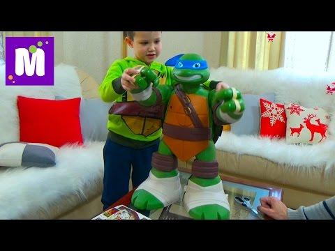 Гигантский Черепашка Ниндзя Леонардо Трансформер распаковка Giant TMNT Leonardo Transforms Playset
