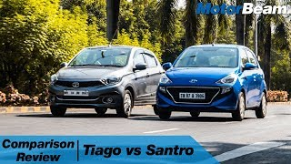 Hyundai Santro vs Tata Tiago - Comparison Review In Hindi | MotorBeam हिंदी