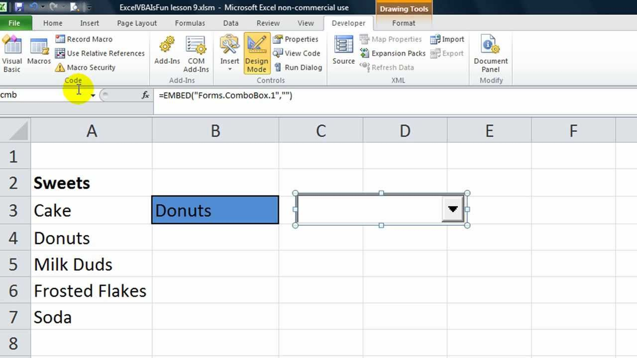 Excel VBA ActiveX Series #4 Combobox - Drop down you can resize and ...