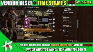 Lots of attachments and some GOD rolls! - OCT 13th 2018 + TIME STAMPS - Weekly Division Vendor Reset