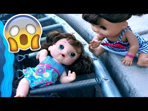 BABY ALIVE Oakley Falls Through Trampoline And Can't Get Out!