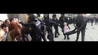 Catalonia People Brutalized by U$-backed Spain Holice For Trying To Vote Independence