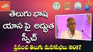 Dr.Nalivela Bhasker Speech About Telugu Slang at World Telugu Conference 2017 | Telangana