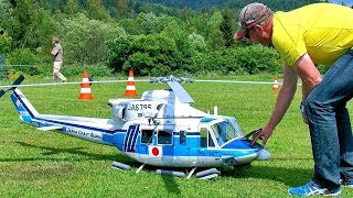 STUNNING BIG RC BELL-412 (JA6795) SCALE MODEL TURBINE HELICOPTER FLIGHT DEMONSTRATION