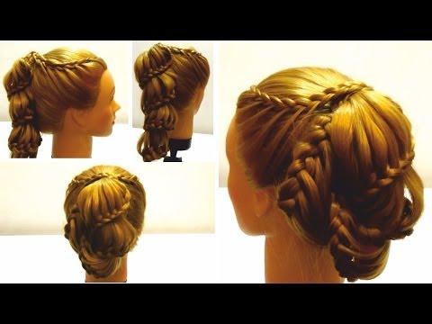 Прическа с плетением на новый год.Плетение на длинные волосы. Hairstyle for New year