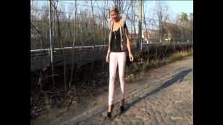 "TAMIA ON COBBLESTONE PAVEMENT IN 7"" HEELS HARD TO WALK"