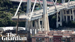 Genoa motorway bridge collapse caught on camera
