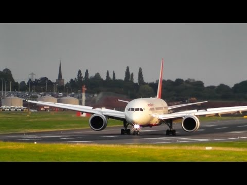 Air India 787-800 Dreamliner @ Birmingham Airport with ATC | Beautiful evening arrival+wing flex
