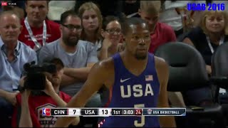 Kevin Durant Full Game Highlights 19p 5a - USA vs China Exhibition - July 24 2016 - Too easy !