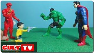 Nobita giúp siêu nhân gao đỏ bắt superman và hulk vượt ngục - đồ chơi doremon hài trẻ em