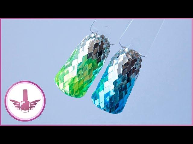 Дизайн ногтей с ромбами | Витражные гель лаки с AliExpress | Блестящий маникюр
