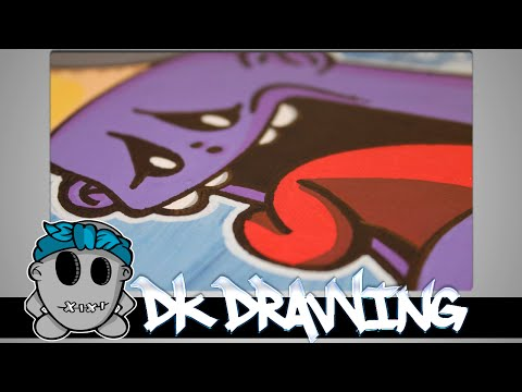 How to draw a graffiti character on canvas #7