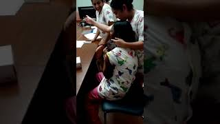 Funny Reaction - Flu vaccination giving to a nurse