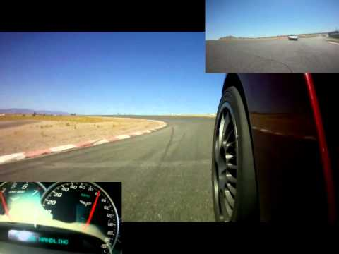 C6 takes a few laps, then goes off track!   Triple view HD video