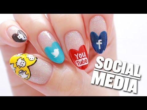 Social Media Nail Art Design (Snapchat, Instagram, YouTube, Twitter, & Facebook)