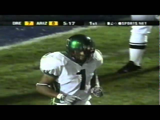 Oregon WR Samie Parker 23 yard catch to goal line vs. Arizona 10-06-01