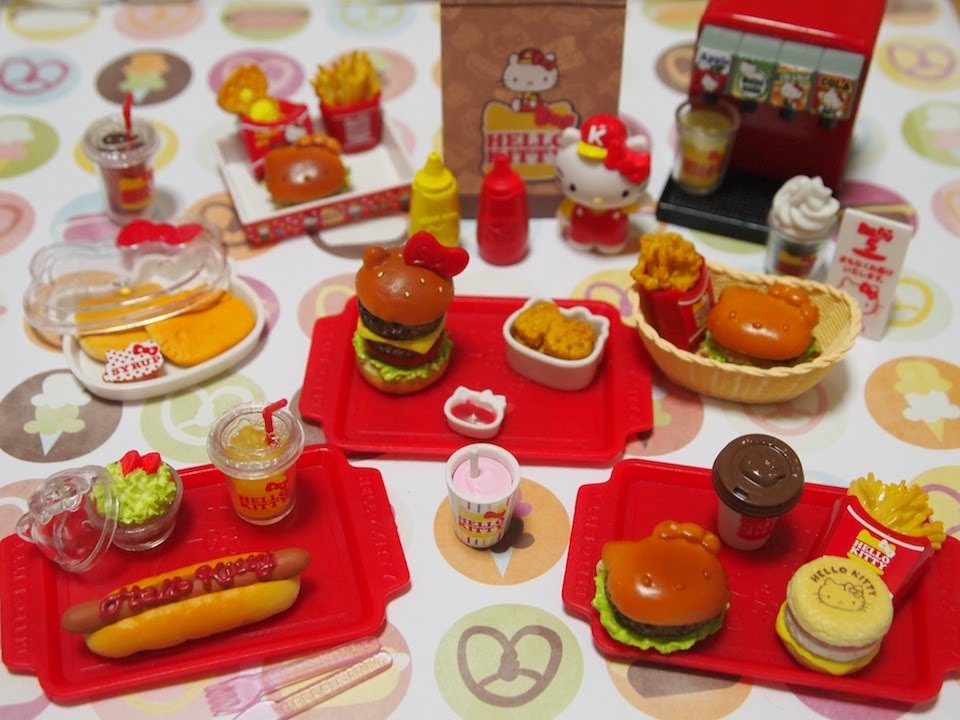 Hello Kitty Toy Food : Re ment collection hello kitty hamburger shop youtube