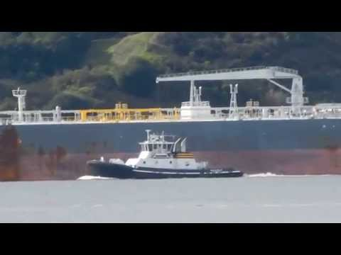 Nissos Kythnos transiting Carquinez Strait with two tug escort