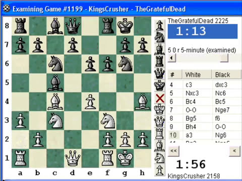 Chess World.net: Blitz #145 vs. TheGratefulDead (2225) - Sicilian Defense - Morra Smith Gambit