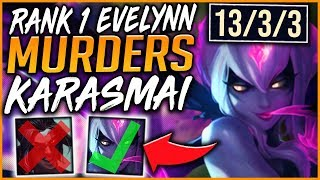 RANK 1 CHALLENGER EVELYNN MURDERS BEST KAYN WORLD (INSANE OUTPLAYS) - League of Legends