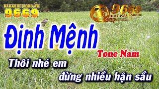 Karaoke Định Mệnh   Tone Nam beat chuẩn   Nhạc sống LA STUDIO   Karaoke 9669