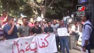 طلاب الدبلومات الفنية يتظاهرون أمام التعليم العالي
