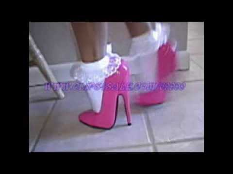 six inch fuschia(pink) high heel stiletto pumps and white frilly socks