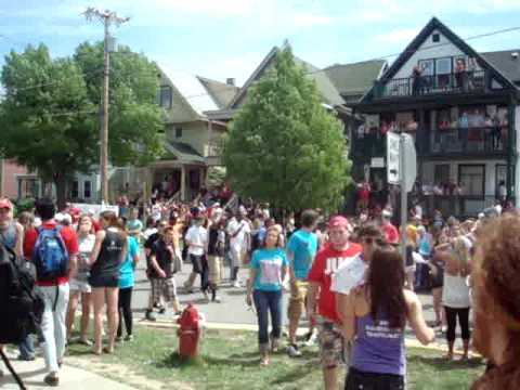 Madison, WI May 1 2010. Mifflin Street Block Party. University of Wisconsin Badgers Drunk Jump Around.