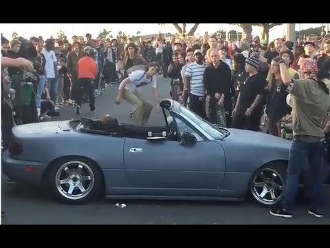 INSTABLAST! - Street 540 Over Miata!! Crook NollieFlip on a Primo Board!? Kickflip on Skim Board!!
