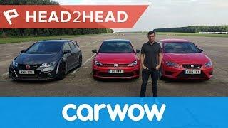 VW Golf GTI Clubsport vs Seat Leon Cupra 290 vs Honda Civic Type R DRAG RACE | Head2Head
