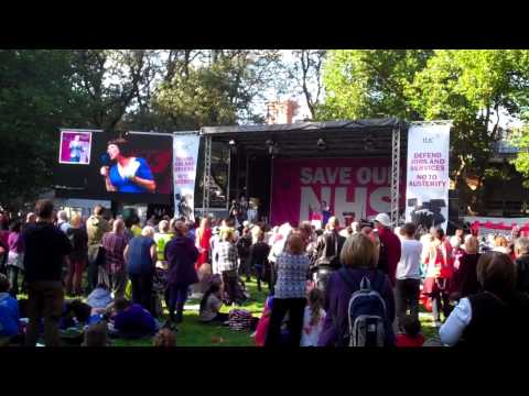 September 29 2013: Frances OGrady Save Our NHS rally in Whitworth Park Manchester 2 of 2