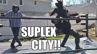 FAT MAN TAKES RAGING MANIAC TO SUPLEX CITY INSANE WRESTLING MATCH