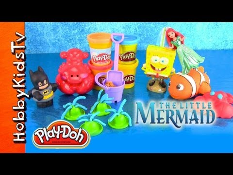PLAY-DOH Beach Play Set! Batman, Ariel Little Mermaid, Nemo, SpongeBob [Disney Princess] [Hero]