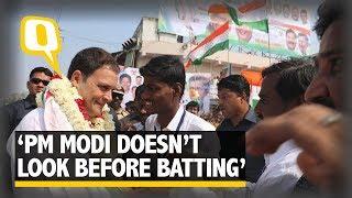 "In Karnataka, Rahul Gandhi Says ""PM Modi Doesn't Look at the Ball Before Batting""  | The Quint"