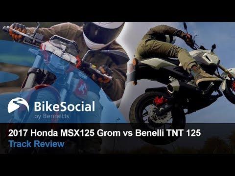 2017 Honda MSX125 Grom vs Benelli TNT 125   Track & stunts review