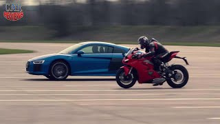 Audi R8 Pitted Against Ducati Panigale V4 In Drag Race  - Car Reviews Channel
