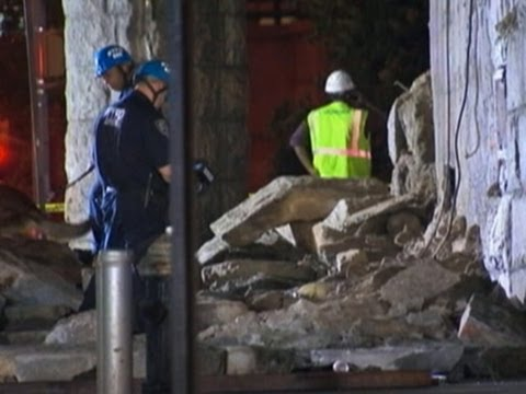 Raw: Brooklyn Bridge Underpass Facade Collapses
