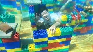 I Built a GIANT Underwater LEGO Maze! - Challenge