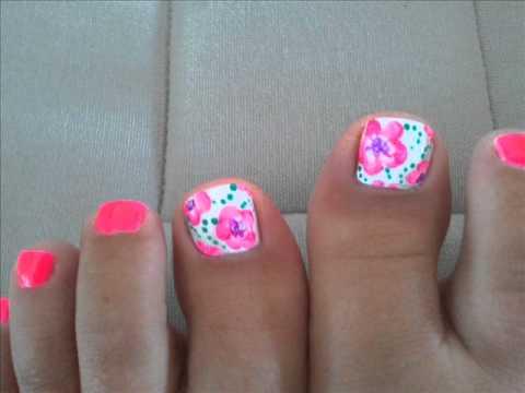 neon pink flowers pedicure  fleurs rose fluo  one stroke