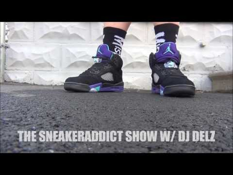 Air Jordan Black Grape 5 Aqua V Shoe HD Review + On Feet W/ @DjDelz Dj Delz