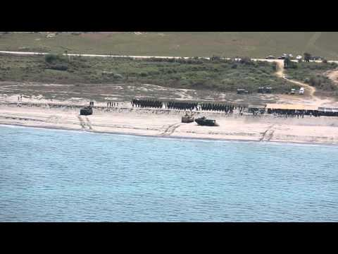 U.S. and Philippines Marines Conduct Amphibious Landing (Aerial Footage)