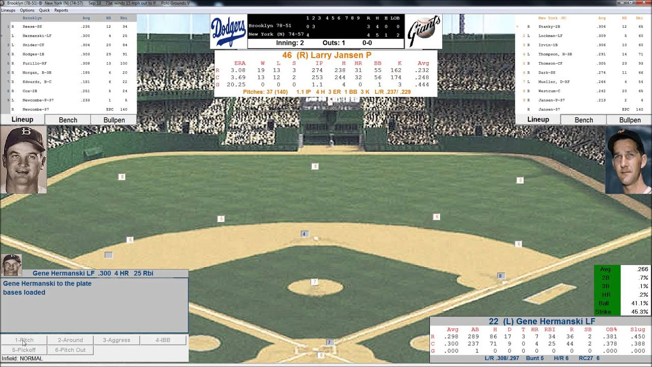 baseball replay  york giants  brooklyn dodgers action pc baseball september