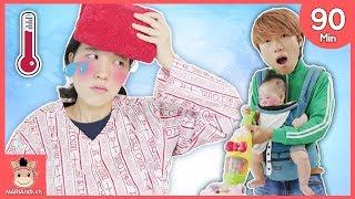 Kids Pretend Play as a Housemaid Hospital Toys Nursery Rhyme Songs | MariAndKids