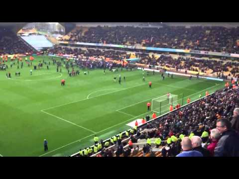 Wolves fans pitch invasion against Burnley