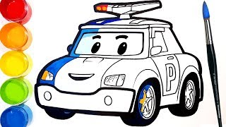 ROBOCAR POLI drawing and coloring for kids/ toddlers. learn colors . Tim Tim TV